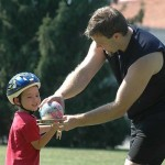 The young Michael trying one of my juggling props in Davidson