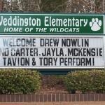 The School Sign for Weddington Elementary